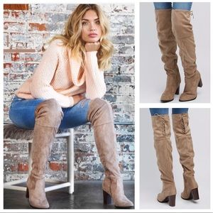 Shoes - Taupe Vegan Suede Over The Knee Boots